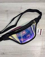 Полупрозрачная сумка 61024 бананка перламутровая силиконовая на пояс с черной окантовкой, фото 1