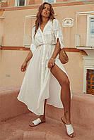 Женская стильная пляжная туника рубашка белая, пляжный халат