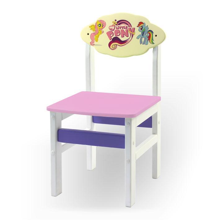 """Стульчик из натурального дерева """"Woody"""" белый с картинкой Литл Пони (цвет – розовый)"""