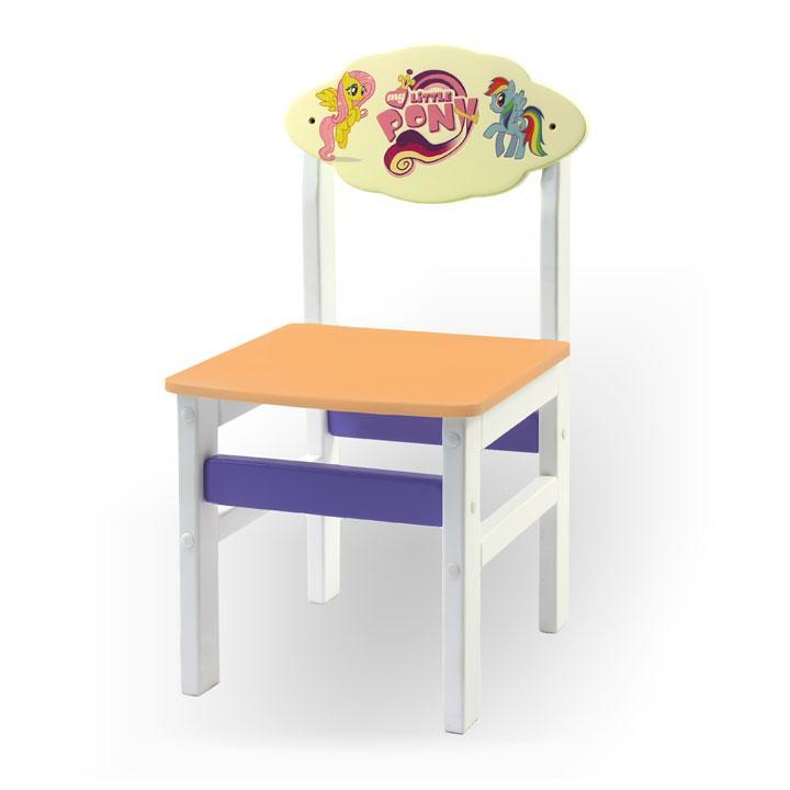 """Стульчик из натурального дерева """"Woody"""" белый с картинкой Литл Пони (цвет – оранжевый)"""
