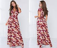 Летнее платье макси с пояском - Бордовый, фото 1