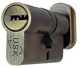 Цилиндровый механизм USK B-90 (45x45) ключ/поворотник Никель, фото 2