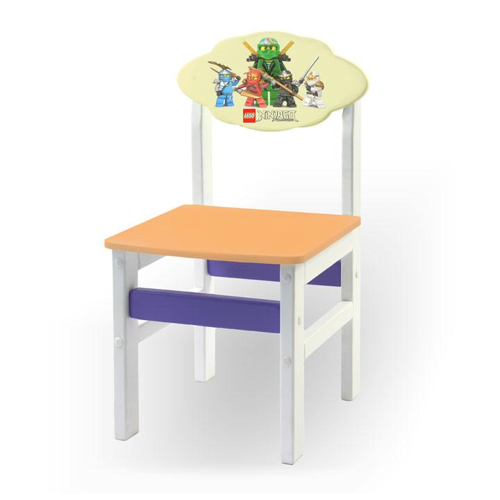 """Стульчик из натурального дерева """"Woody"""" белый с картинкой Ниндзяго (цвет – оранжевый)"""