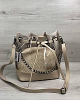 Прозрачная силиконовая сумка 23129 через плечо с клатчем бежевая летняя, фото 1