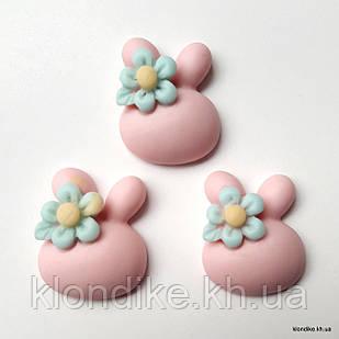 """Серединки """"Зайка"""", Акрил, 2×1.8 см, Цвет: Розовый (5 шт.)"""