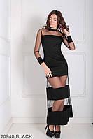 Оригинальное вечернее платье с рукавами и вставками из евро сетки Eleona