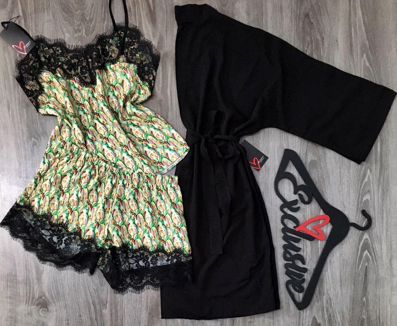 Халат и пижама-набор домашней одежды с кружевом.