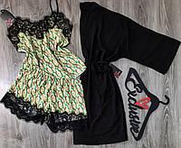 Халат и пижама-набор домашней одежды с кружевом., фото 1