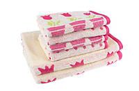 """Полотенце махровое  """"Лалале"""" розовое 50*90 см, гостевое"""