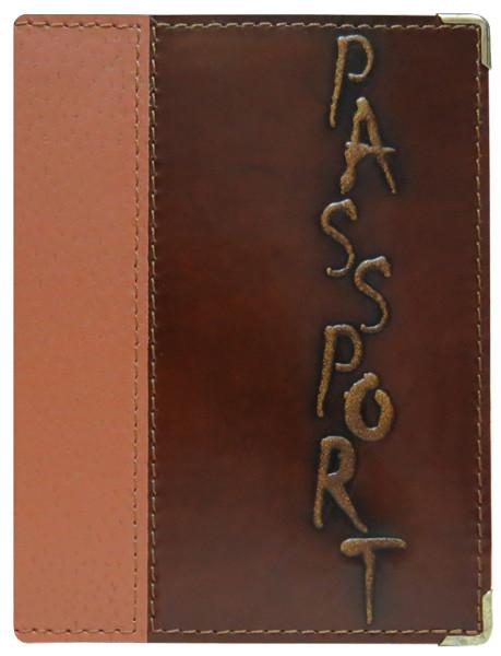 """Обкладинка на паспорт шкіряна з тисненням """"Євро"""". Колір коричневий"""