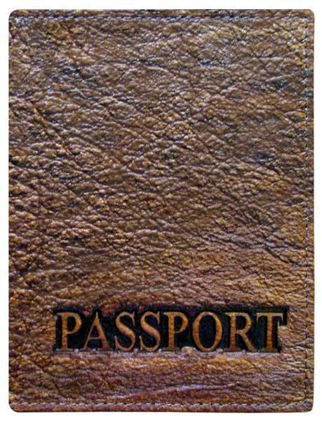 """Обложка на паспорт из натуральной кожи """"Passport"""". Цвет коричневый"""