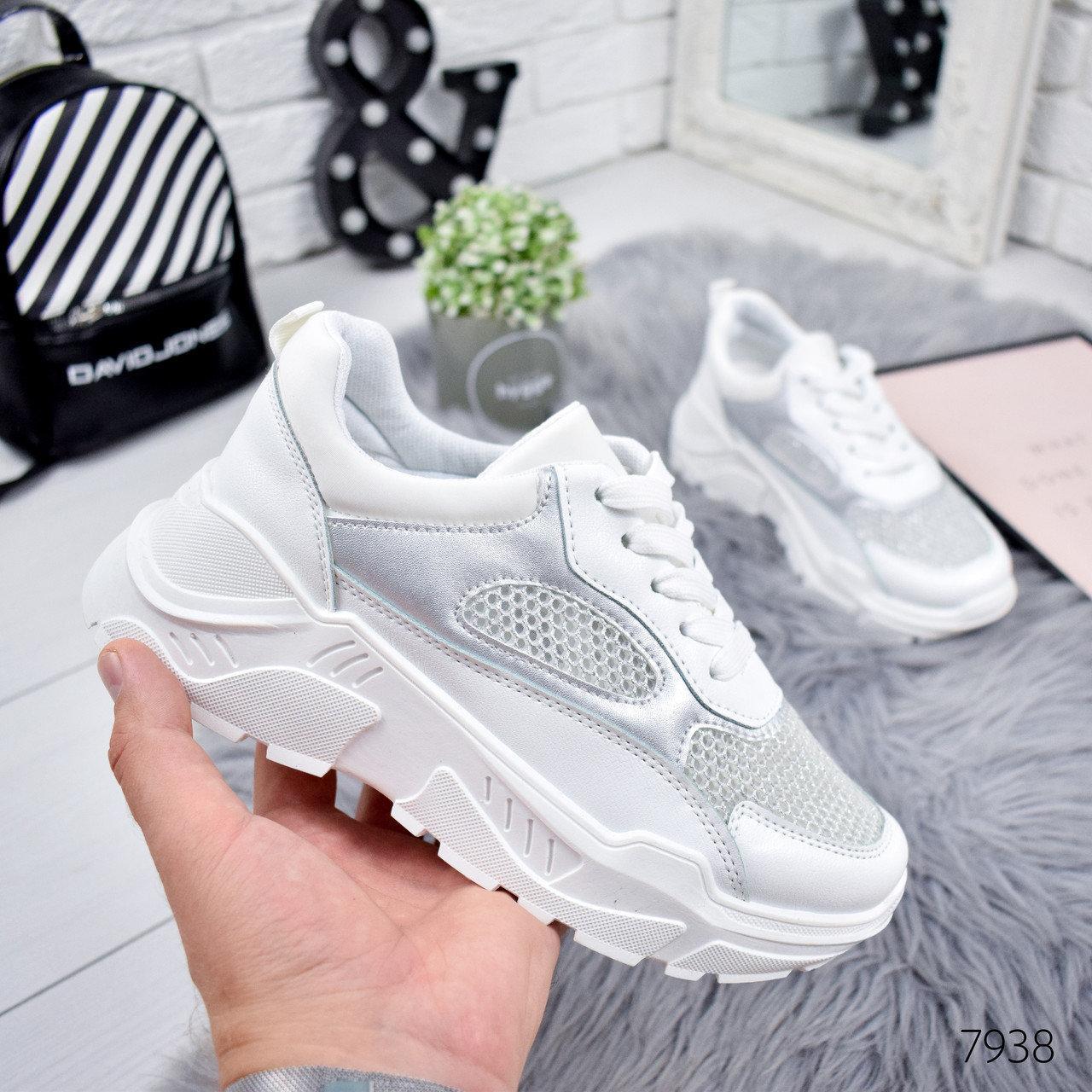 Кроссовки женские World белый + серебро 7938