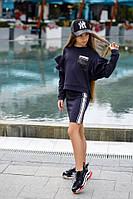 Детский спортивный костюм на девочку юбка и кофта свитер с карманом в пайетках синий 134 140 146 152