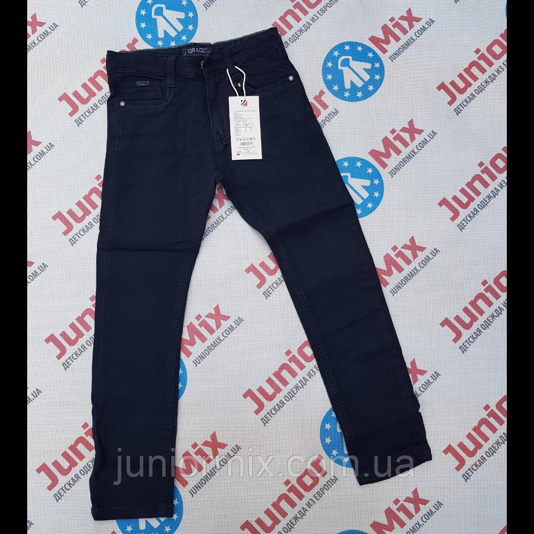Котоновые синие подростковые брюки для мальчиков оптом GRACE