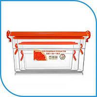 Набор пищевых пластиковых контейнеров 3 штуки (3,5л+2л+1,15л), боксы для еды