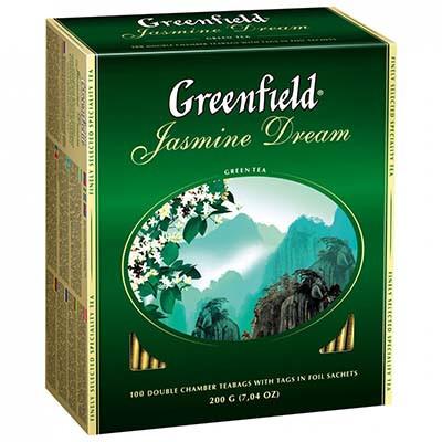 Зеленый Чай Greenfield Jasmin Dream (100х2 г) Жасмин в картонной упаковке