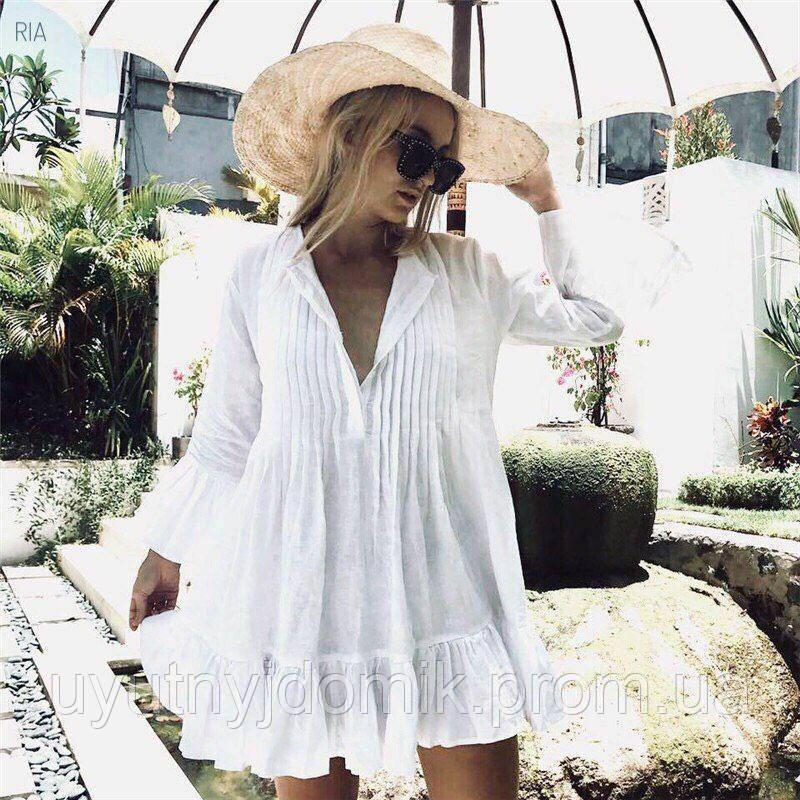 332570f94970d Женская стильная пляжная туника с рюшами белая, пляжное платье короткое