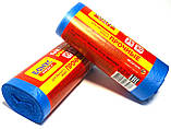 Сміттєві пакети 35 літрів Бонус+ 30 шт/уп, сині, фото 3