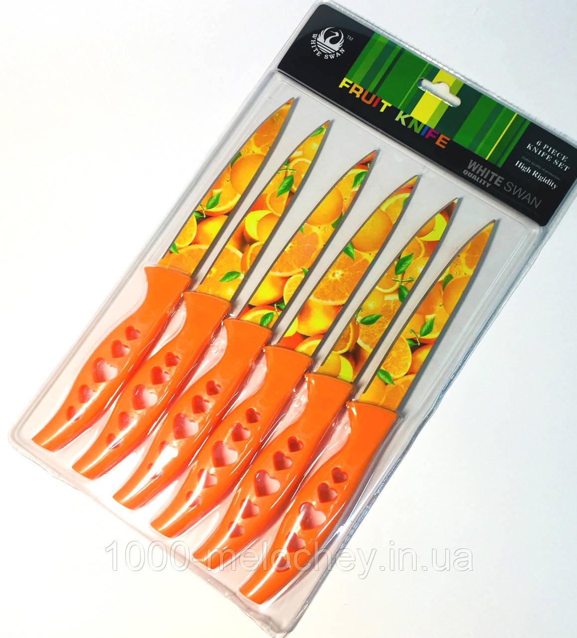 Набір кухонних ножів металокераміка середні 6 штук в наборі Серце (240mm)