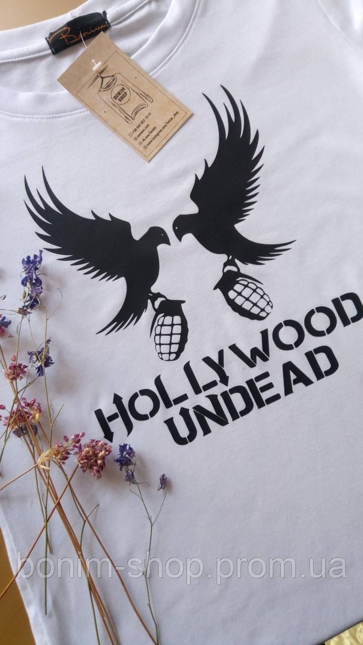Женская белая футболка с принтом Hollywood undead