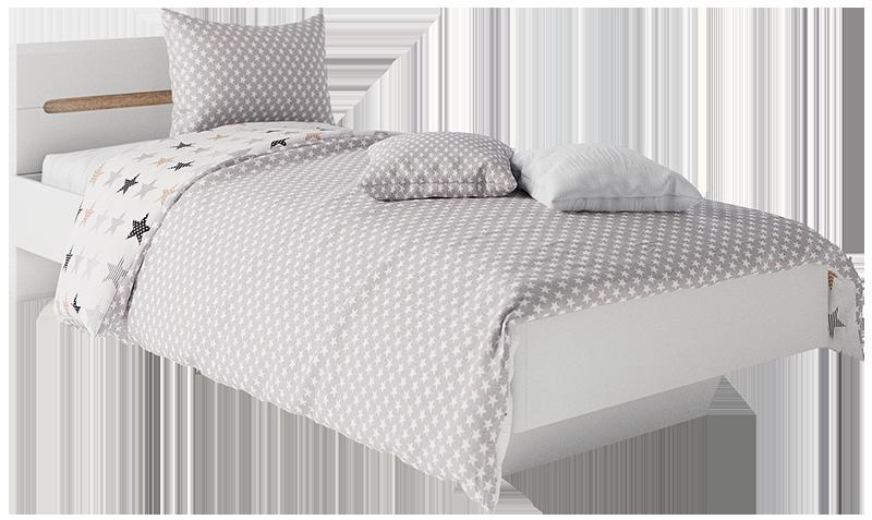 Ліжко 1-сп 0,9 Бьянка Білий/Дуб сонома (Світ Меблів TM)