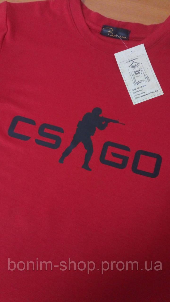 Женская красная футболка с принтом CS GO