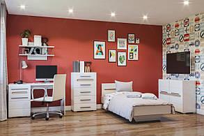 Ліжко 1-сп 0,9 Бьянка Білий/Дуб сонома (Світ Меблів TM), фото 2