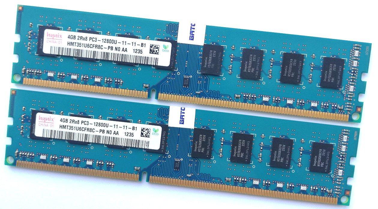 Комплект оперативной памяти Hynix DDR3 8Gb (4Gb+4Gb) 1600MHz PC3 12800U 2R8 CL11 (HMT351U6CFR8C-PB N0 AA) Б/У