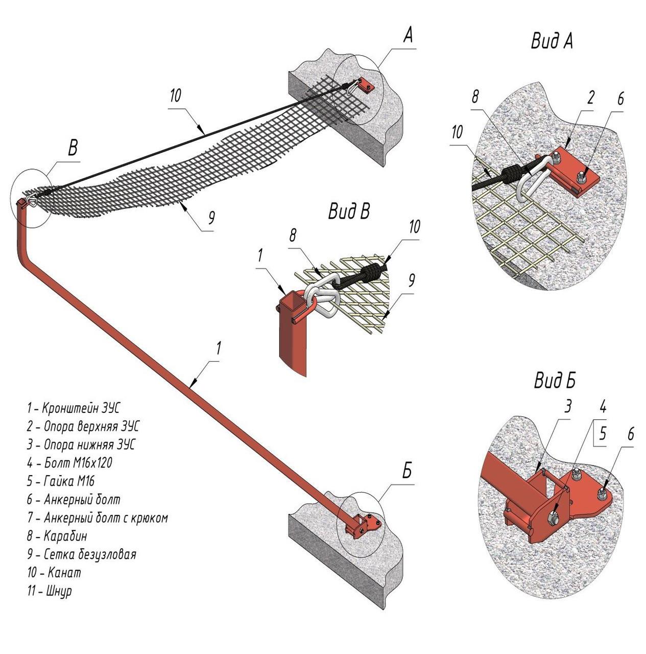 Сетка защитно-улавливающая безузловая (нить ПА  (капрон) 220 tex,D 3,4 мм.,154 кгс), размер менее 15м2