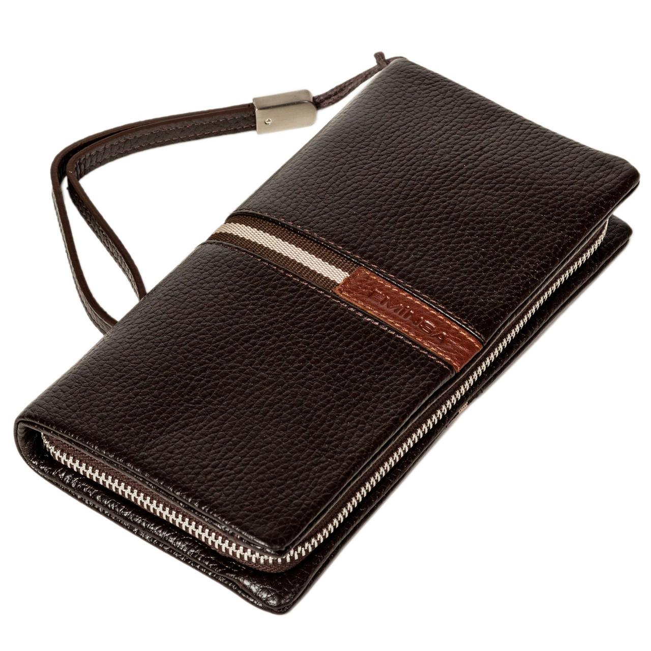 Мужской кошелек клатч Eminsa 5113-37-3 кожаный коричневый