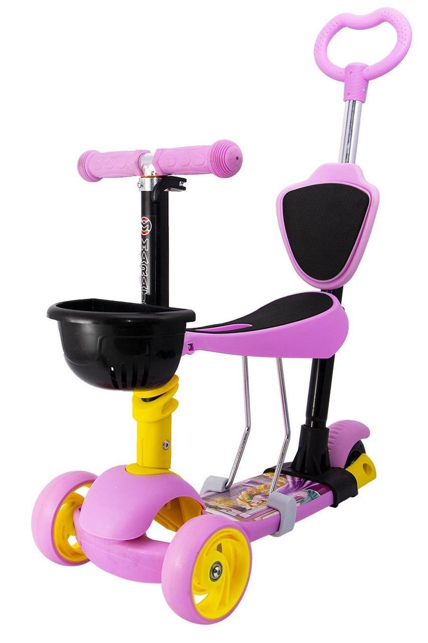 Детский Самокат 5 в 1 Беговел Maraton Disney c родительской ручкой и сиденьем Розовий