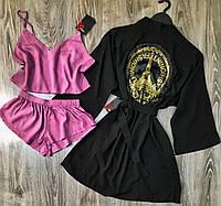 Халат+мака-топ+шорты-комплект одежды для сна и дома.