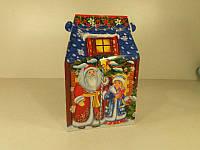 Новогодняя коробка для конфет №109а (Дом синяя крыша600) (25 шт)