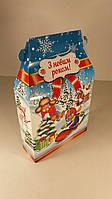 Новогодняя коробка для конфет №008а(Дети на сноубордах 700гр) (25 шт)