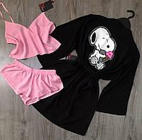 Хлопковая домашняя одежда комплект пижама с халатом.
