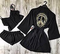 Халат с аппликацией+пижама(майка и шорты) набор.