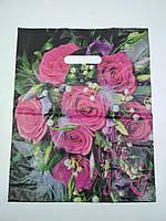 """Пакет с прорезной ручкой (30*37+3) Цветы """"Розовые розы""""   (50 шт)"""