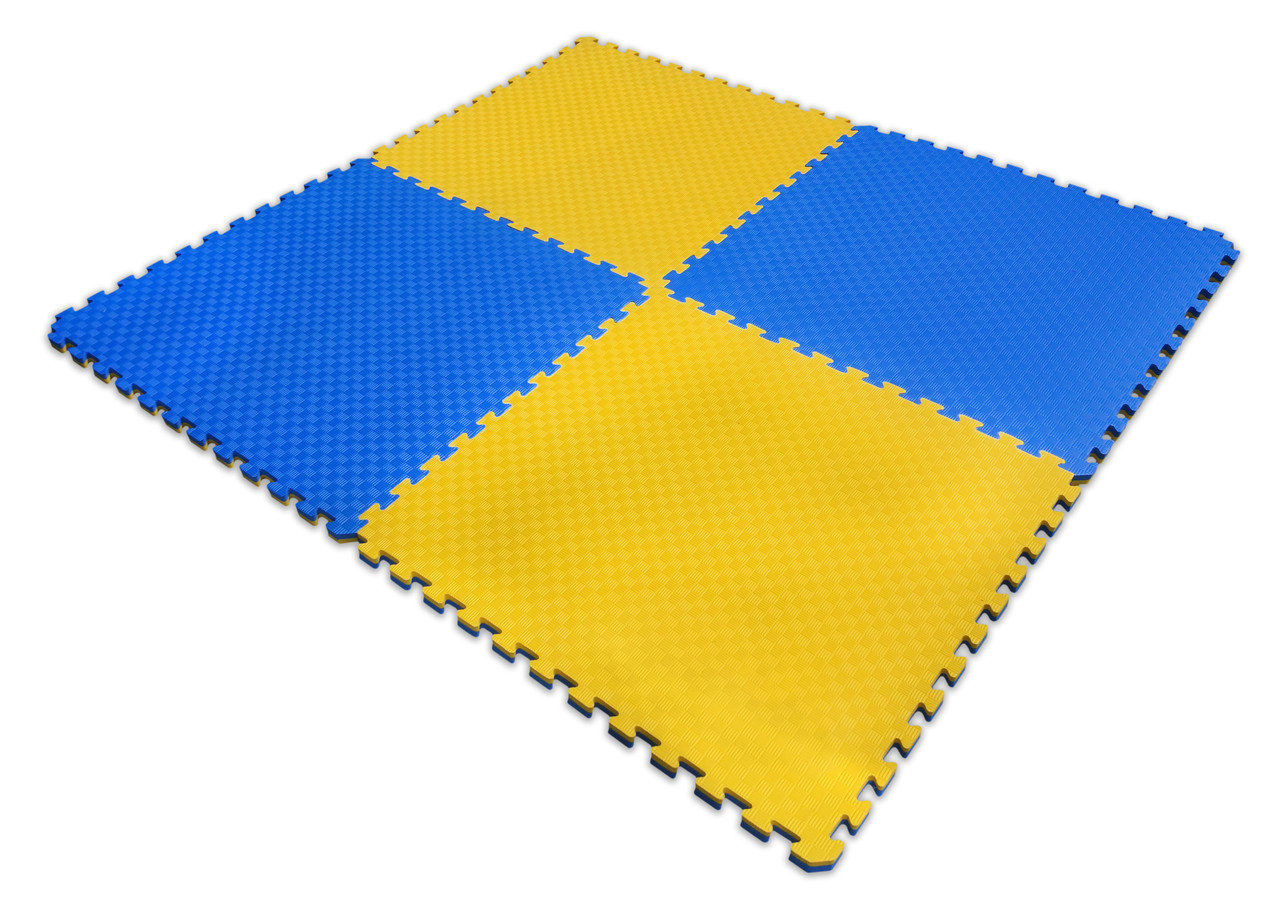 Мат татами 100*100*2 см Eva-Line Extra Quality синий/желтый Плетёнка 100 кг/м3 (будо-мат, даянг)