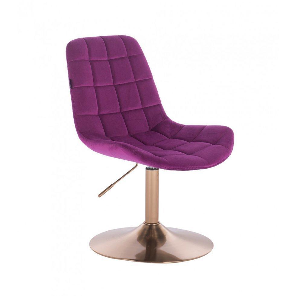 Парикмахерское кресло Hrove Form HR590N, золотая база фиолетовый