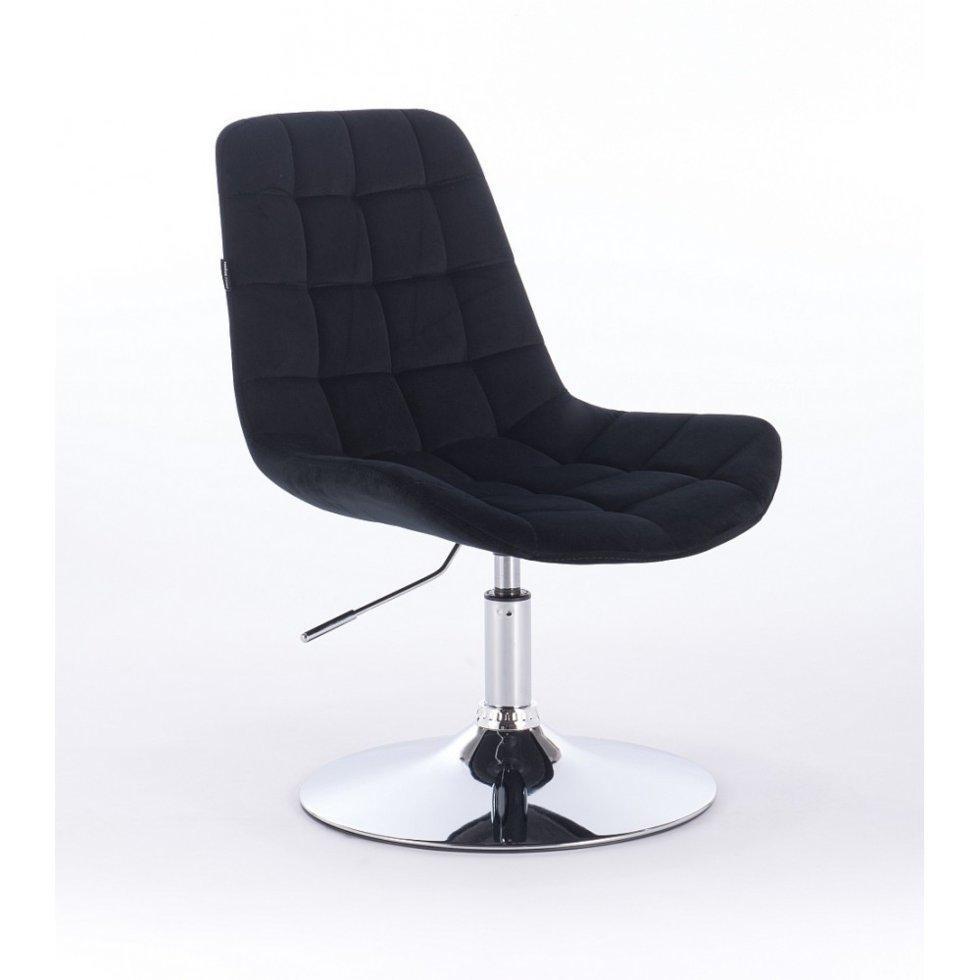 Парикмахерское кресло Hrove Form HR590N, хром база велюр, черный