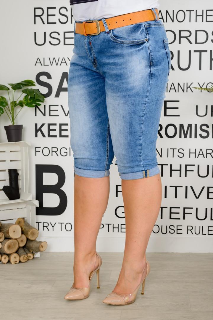 Бриджи женские стрейчевые из джинса потертые с поясом (К28367)