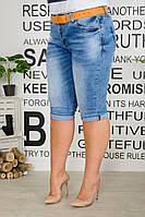 Бриджи женские стрейчевые из джинса потертые с поясом (К28367), фото 1