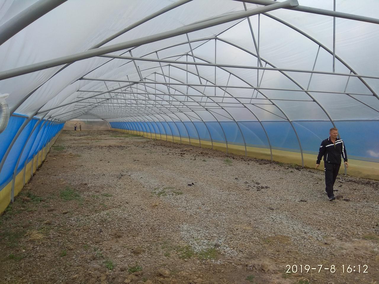 Теплица-термос для бизнеса зимняя фермерская из пленки с наддувом 10х50 м