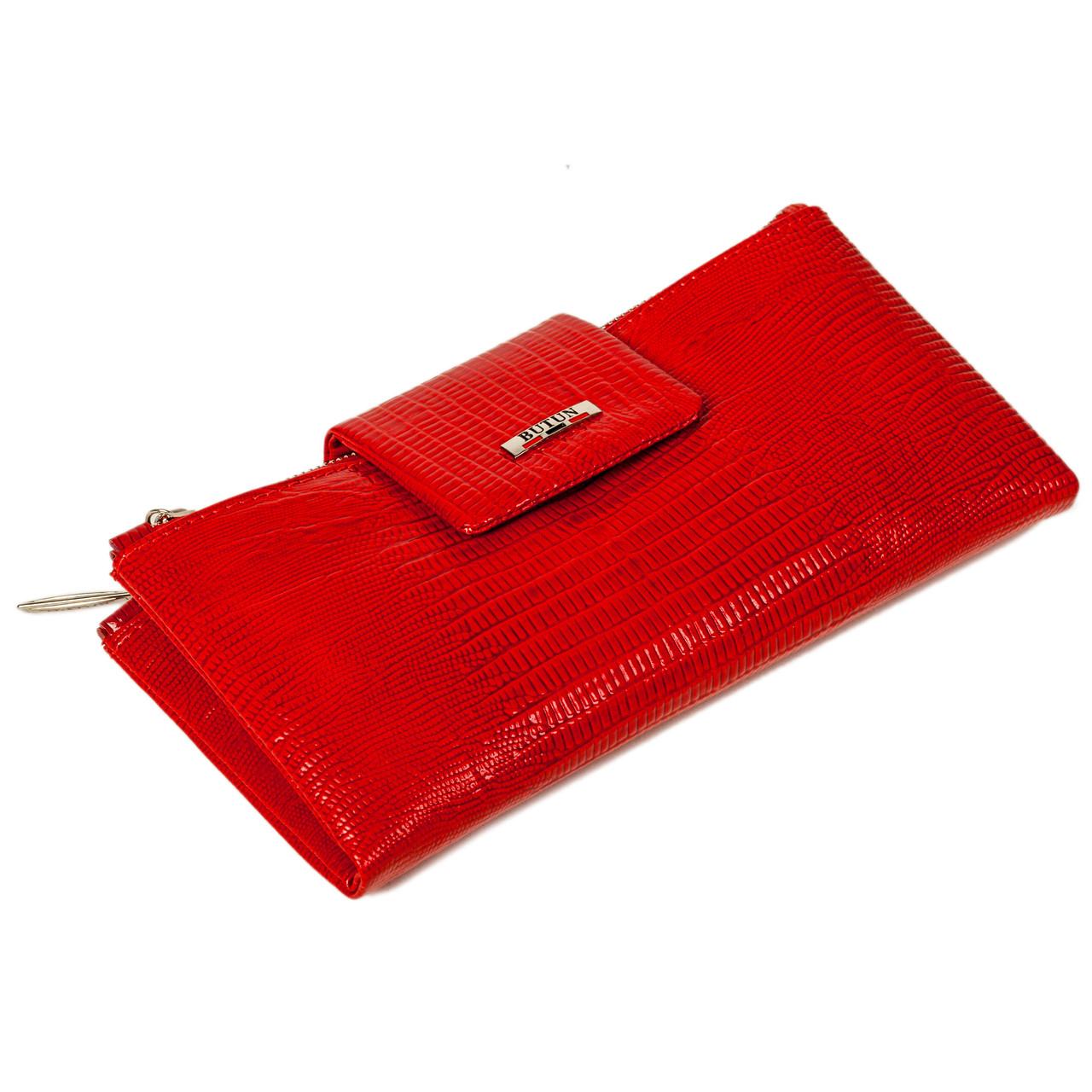 Большой женский кошелек BUTUN 507-005-006 кожаный красный
