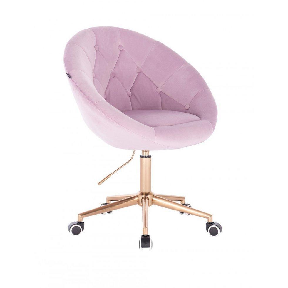 Парикмахерское кресло Hrove Form HR8516K золотое основание, розовый