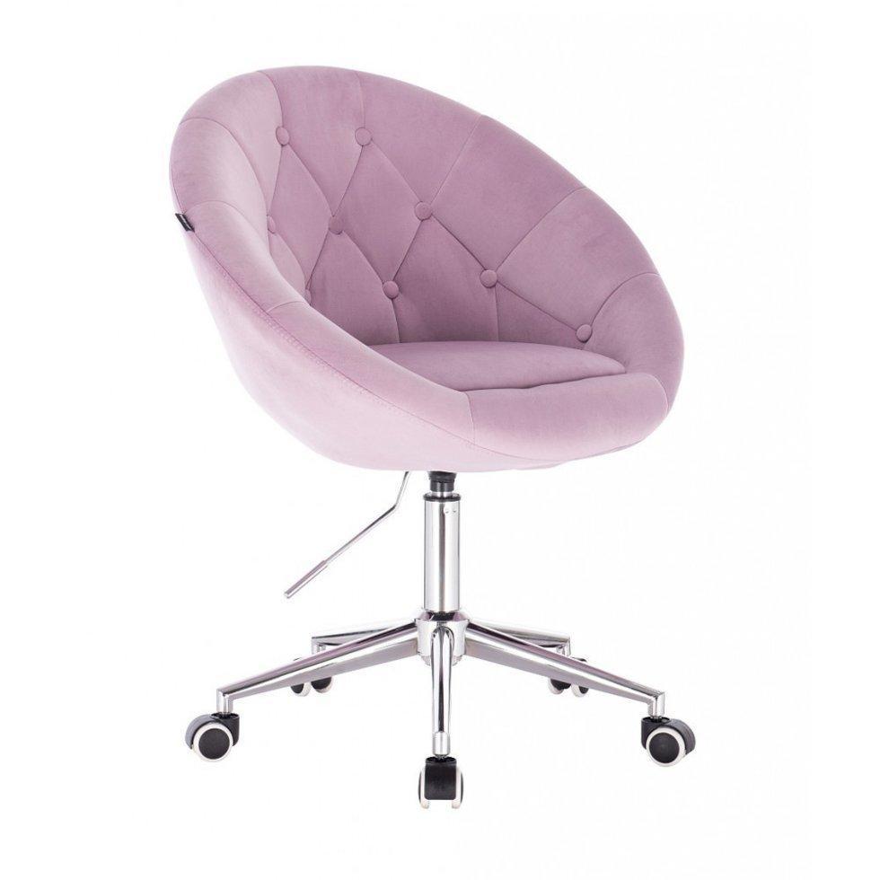 Парикмахерское кресло Hrove Form HR8516K хромированное основание, розовый