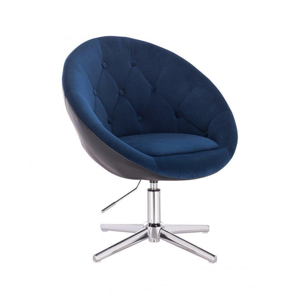 Парикмахерское кресло Hrove Form HR8516С велюр+кожзам синий