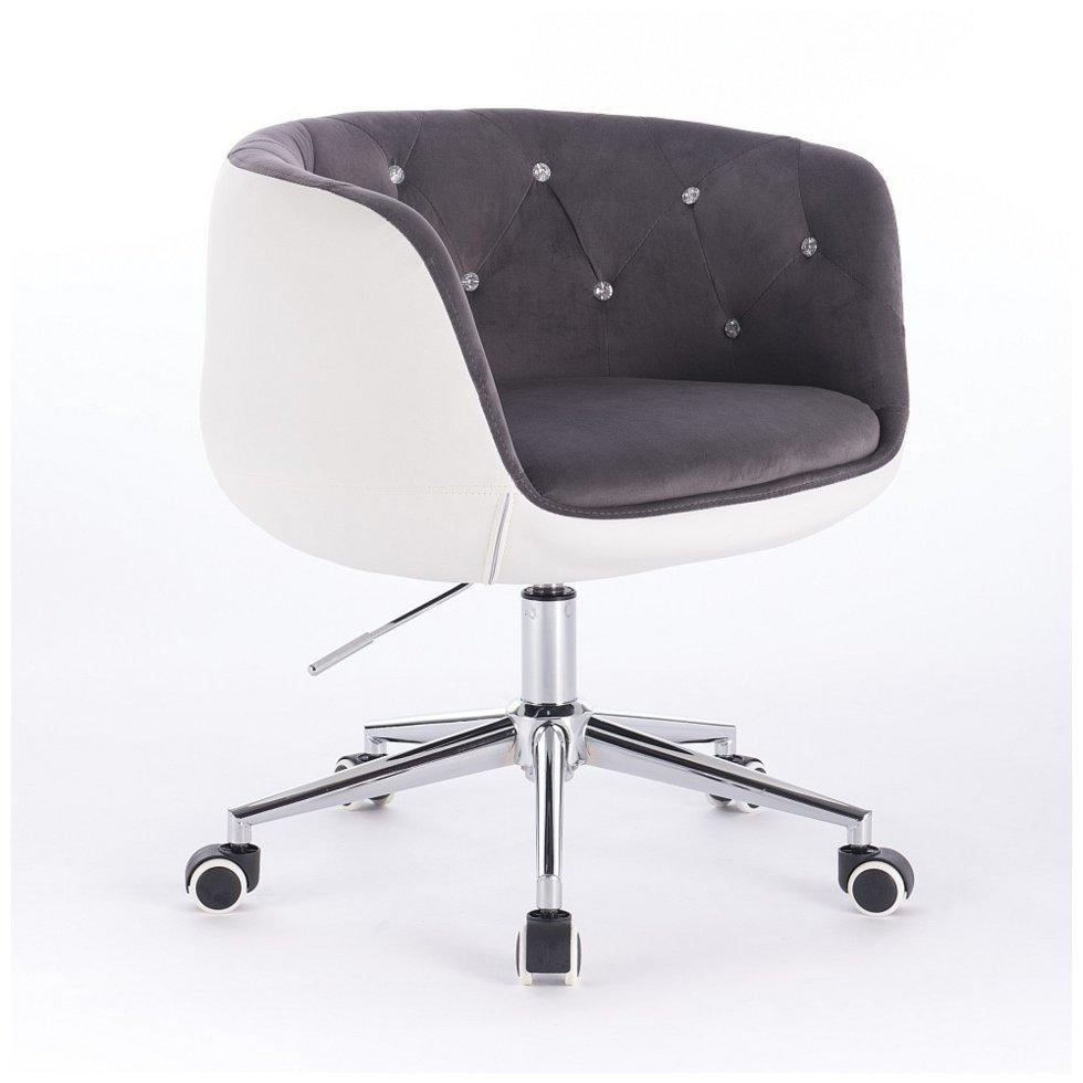 Перукарське крісло Votana HC333K білий з сірим, велюр+кожзам