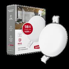 Світильник 18W світлодіодний врізний LED MAXUS SP edge, 4100К (коло)