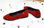 Женские красные замшевые туфли-балетки с заостренным носком., фото 2